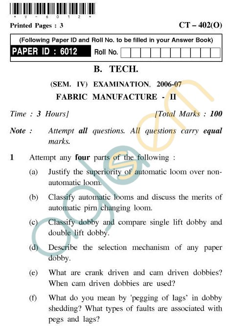 UPTU B.Tech Question Papers - CT-402 - Fabric Manufacture-II
