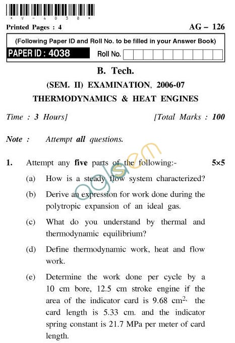 UPTU: B.Tech Question Papers - AG-126 - Thermodynamics & Heat Engines