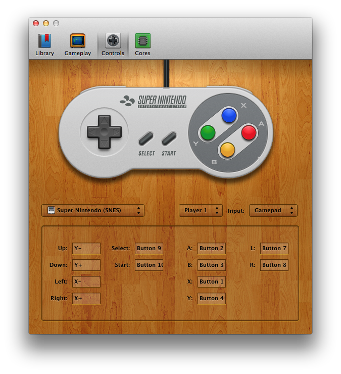 OpenEmu controller configuration screen