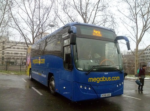 Megabus stagecoach rugby plaxton panther kx61gdz at paris porte maillot coach station with the - Porte maillot coach station ...