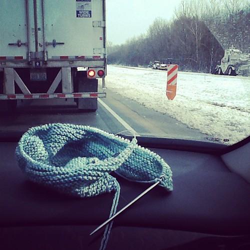 Road construction- good thing I have plenty of yarn.