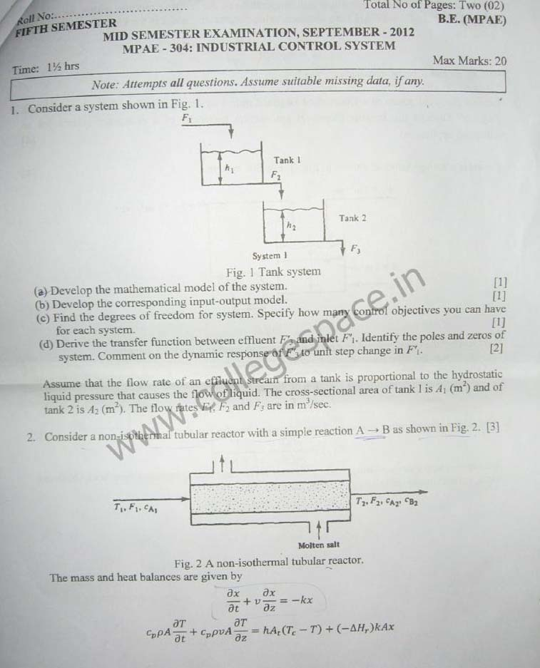 NSIT Question Papers 2012 – 5 Semester - Mid Sem - MPAE-304