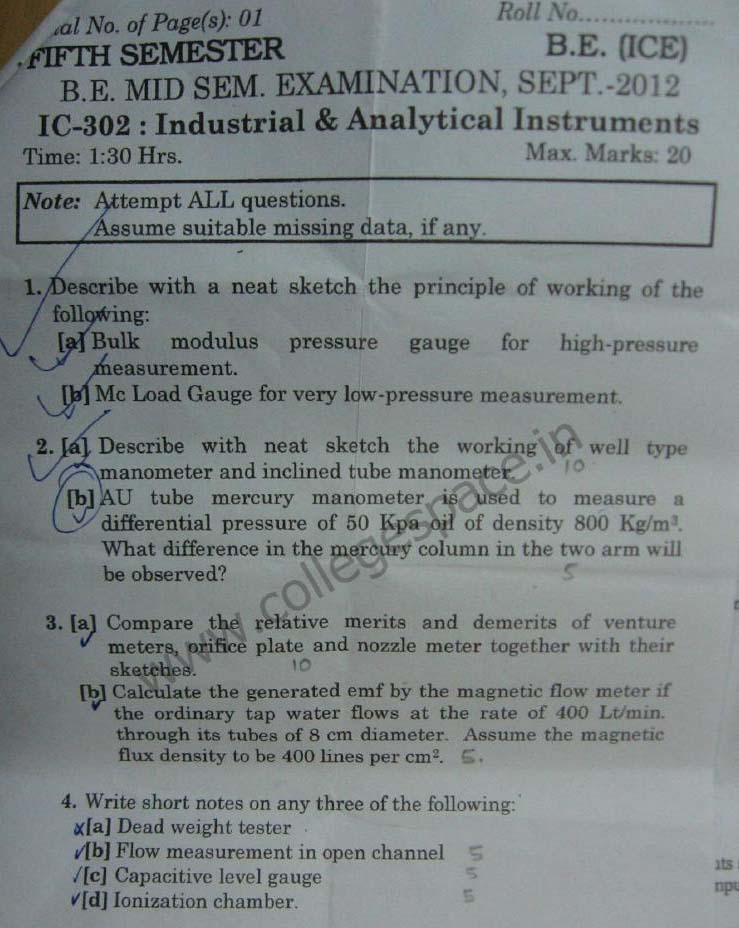 NSIT Question Papers 2012 – 5 Semester - Mid Sem - IC-302