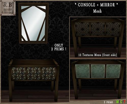 *RnB* Dark Cedar Console + Mirror - 12 Textures (Mesh) (copy)