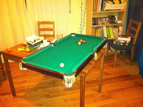 mini pool table.