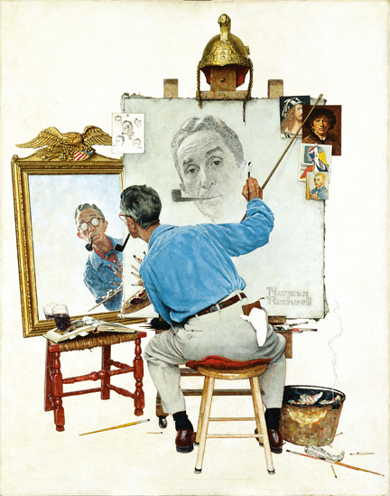 """Triple Self-Portrait,"" Norman Rockwell, 1959"
