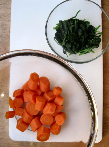 Steamed Carrots and Spinach for Brownies