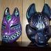 Old version (left) and new version (right) of MissMonster kitsune masks by NamelessRelic