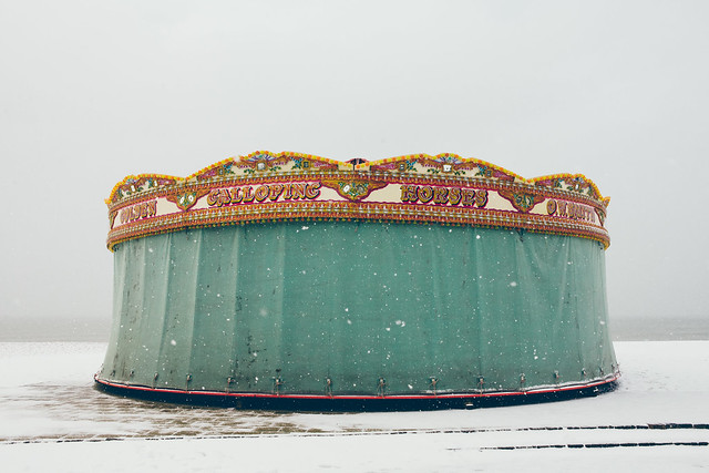 Brighton beach carousel in the snow