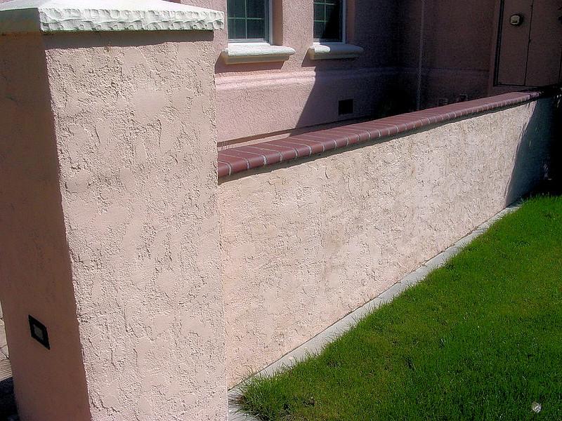 Cement Wall Caps : Block wall column with stucco brick cap solano