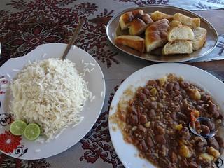 Comida no Restaurante Hayat em Berbera
