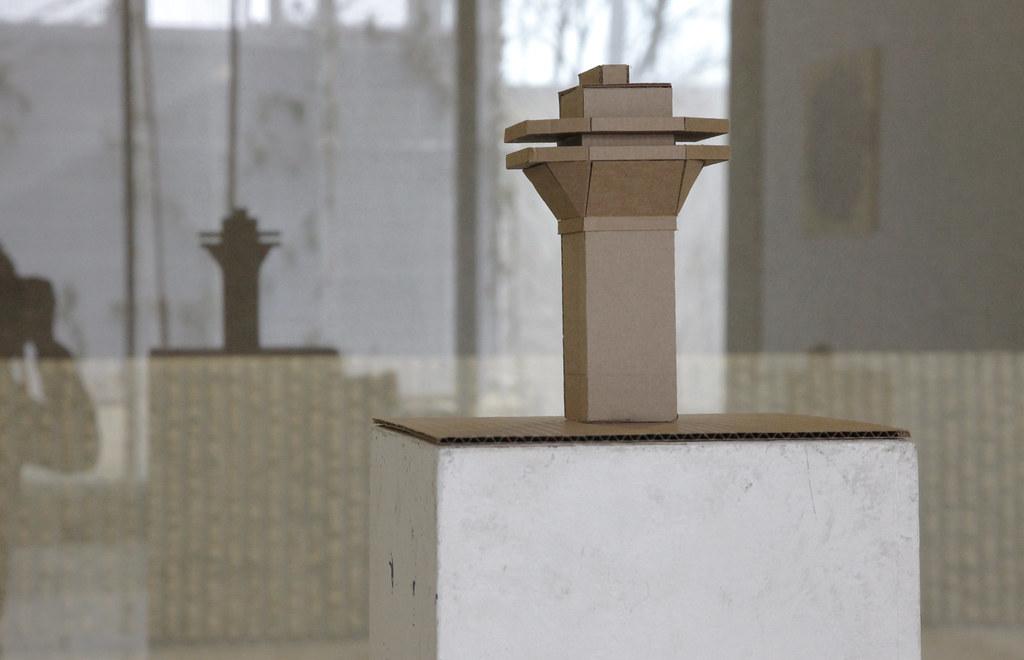 A sculpture made of corrugated cardboard.