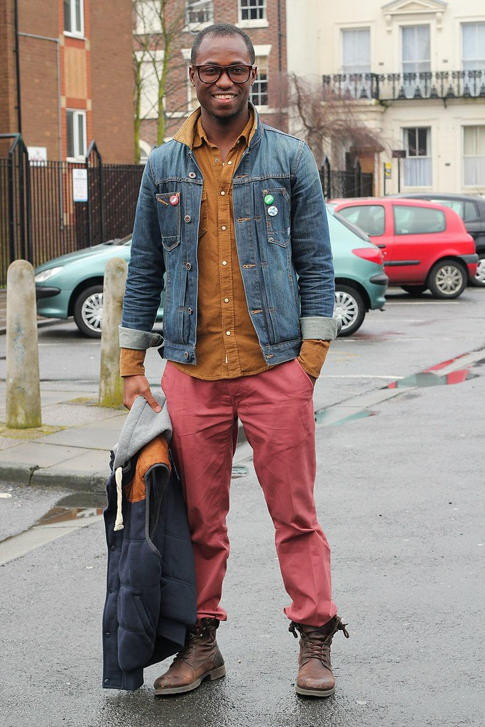 burgundy pants with a brown shirt, denim jacket, a vest jacket and boots