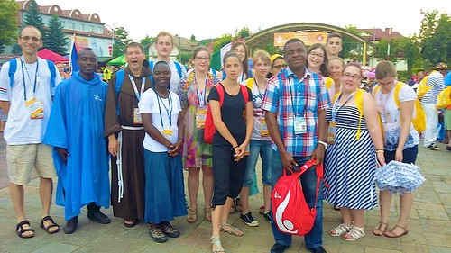 Sr MaryJo (4th left) and her group from Étampes at World Youth Day in Krakow, Poland