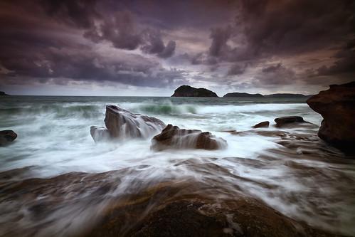 sunset seascape storm water clouds rocks wave australia nsw centralcoast lionisland brokenbay nickfriend