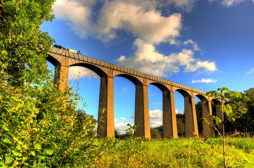 bridge blue sky weather wales clouds europe day cloudy britain pillar arches telford aqueduct chirkaqueduct pontcysyllte castiron llangollencanal unescoworldheritage hdr aquaduct riverdee traphontddŵrpontcysyllte mygearandme