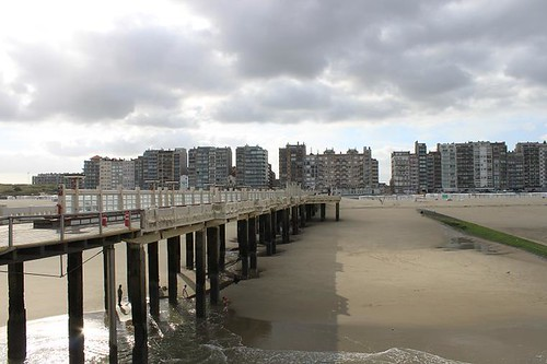 view from the pier on the coast of Blankenberge