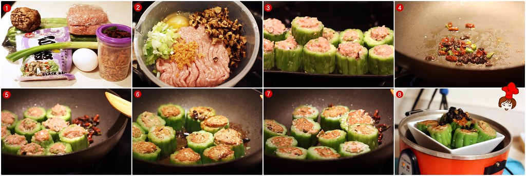 苦瓜鑲肉 Steamed  Bitter Gourd Stuffed with Minced Pork 2.5