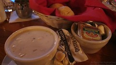 New England clam chowder and bread