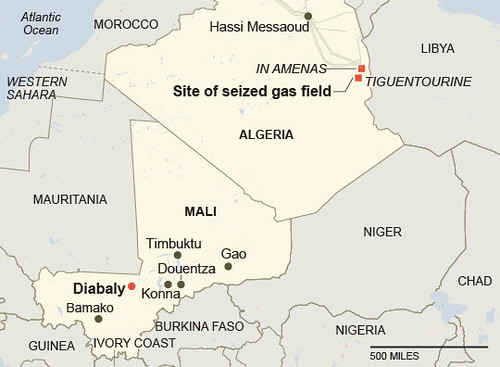 Map of gas field at Amenas in Algeria where a BP installation was seized by combatants. An attempt to end the takeover has resulted in the deaths of at least 50 people. by Pan-African News Wire File Photos