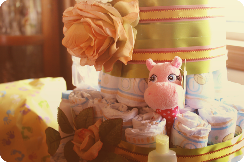 {baby shower} diaper cake close