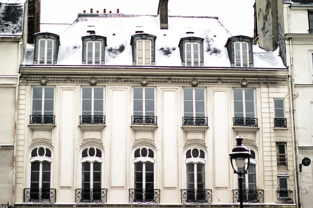 building in Paris in the snow