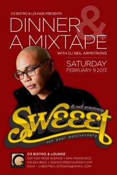 2/9 - Bay Area - The weekend before V-Day, come join me for Dinner & A Mixtape @ the O3 Bistro Lounge...