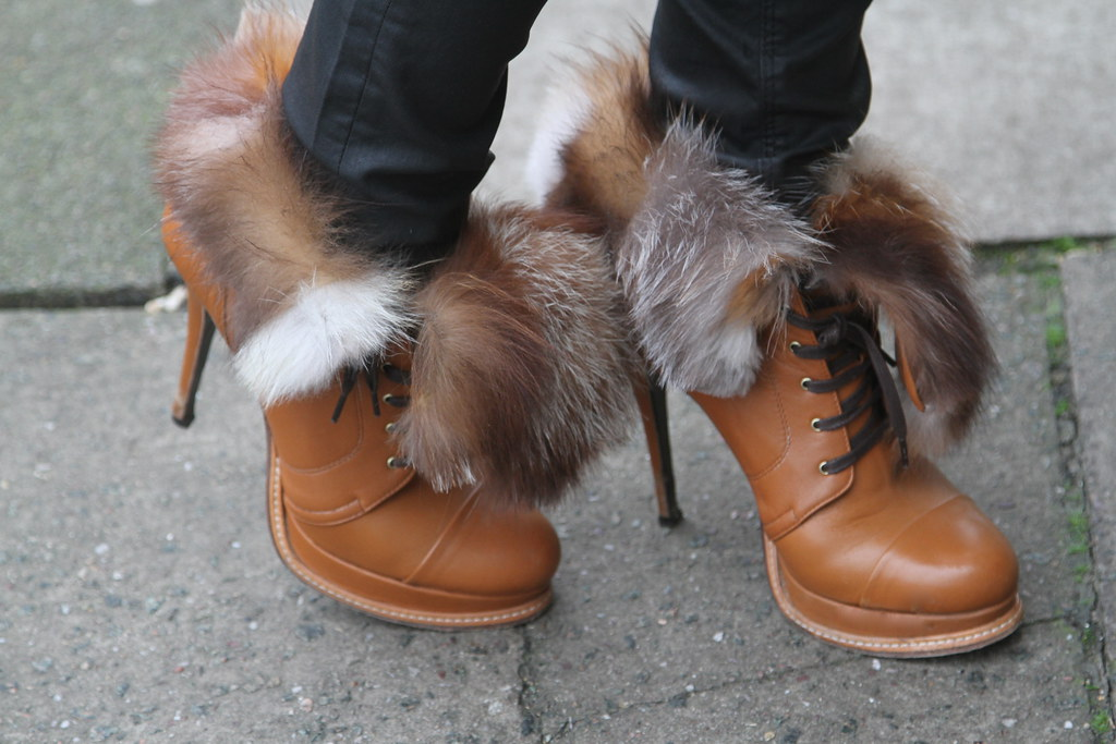 fox fur shoes