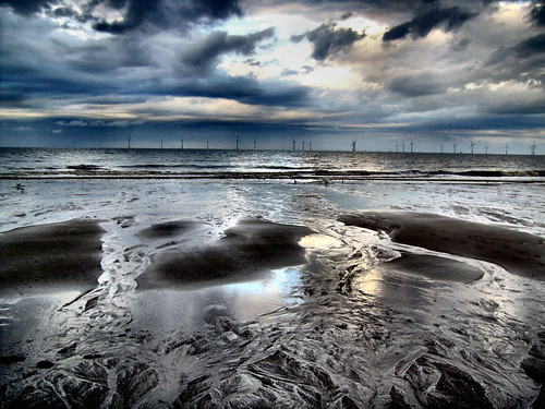 sea beach sand northsea eastcoast skegness windturbines ingoldmells