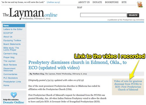 The Layman Online: Presbytery dismisses church in Edmond, Okla., to ECO (updated with video)