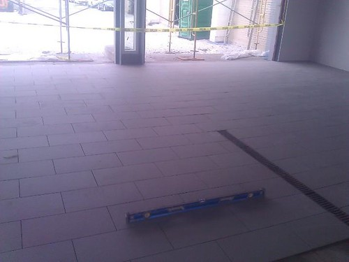 Non slippery commercial porcelain tile at a car dealership
