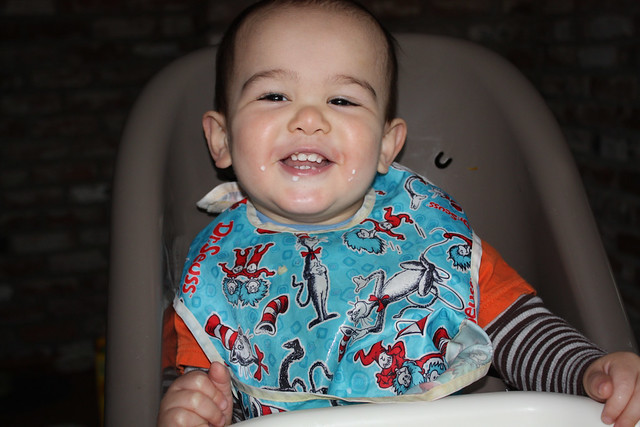 High chair smiling