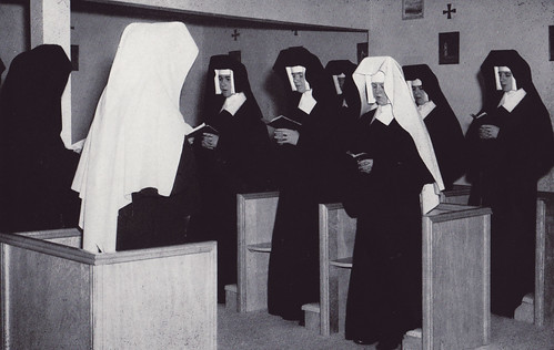c1958. Sisters at prayer in chapel of the new novitiate in Woodland Hills