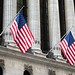 US flags on the New York Stock Exchange