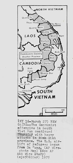 27 March 1975 - NEW GAINS - VIETNAM MAP - PRESS PHOTO