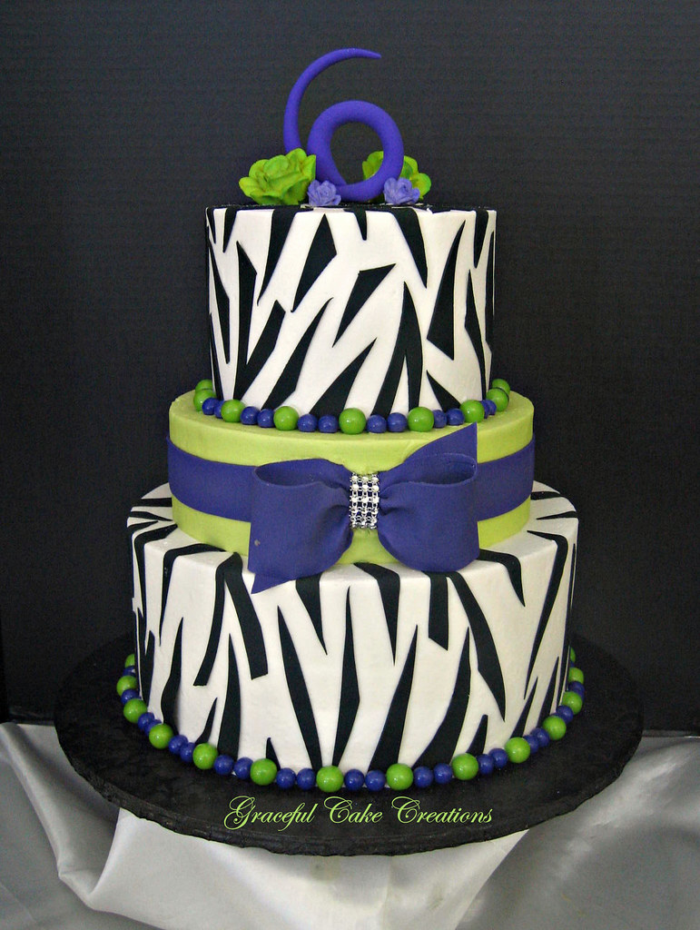 Lime Green, Purple And Zebra Print Birthday Cake - a photo on ...