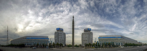 auto city sunset sky panorama monument architecture clouds square lens asia view angle stitch sony capital wide sigma super communist socialist alpha independence 1020mm past kazakhstan almaty lenses 580 a580