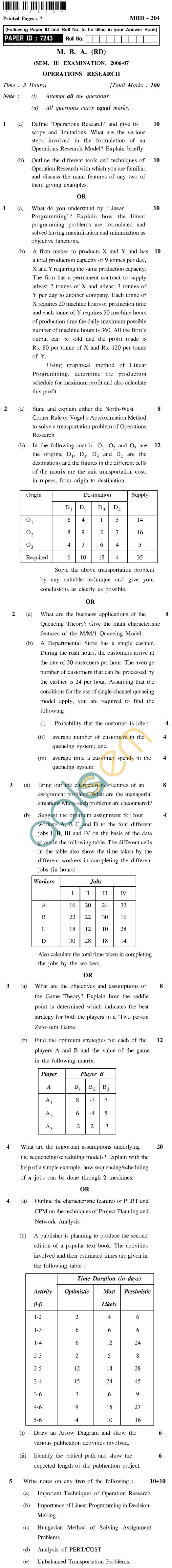 UPTU MBA (RD) Question Papers - MRD-204-Operations Research