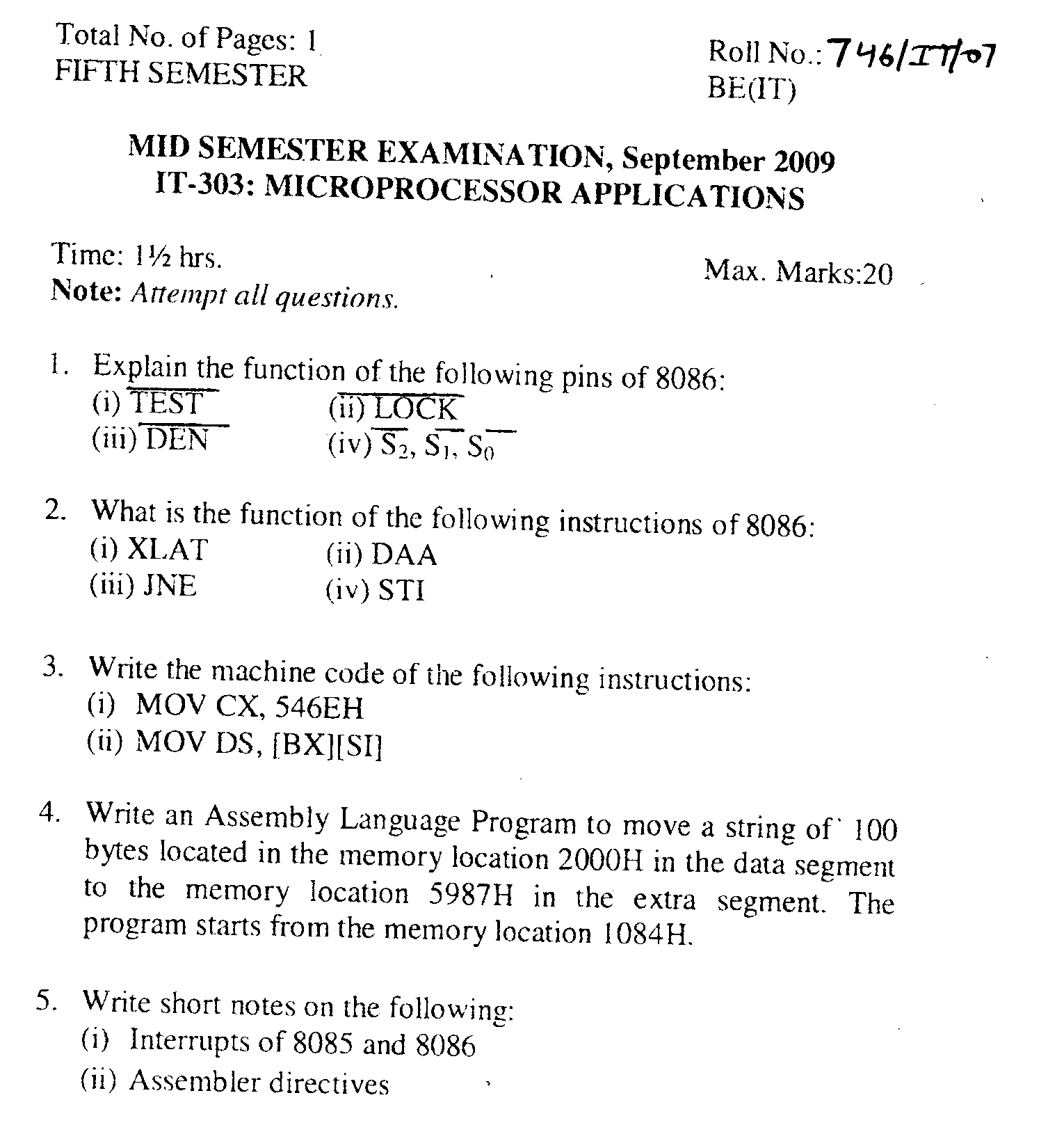 NSIT: Question Papers 2009 – 5 Semester - Mid Sem - IT-303