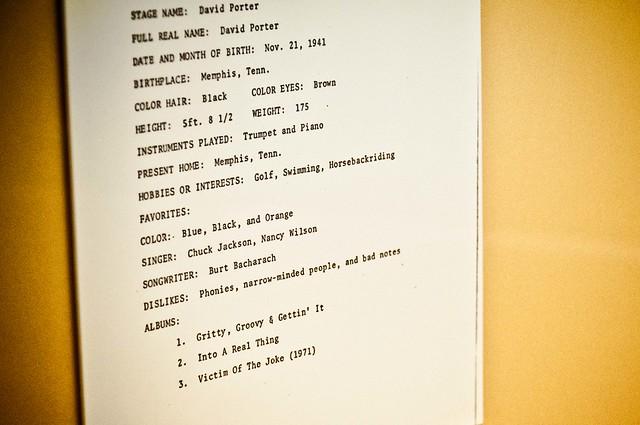 David Porter Sheet - Stax Museum of American Soul Music | PopArtichoke