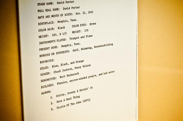 David Porter Sheet - Stax Museum of American Soul Music | PopArtichoke