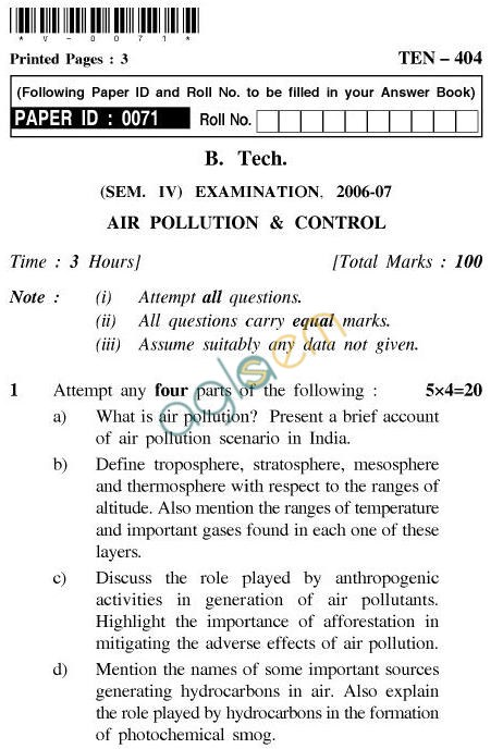 UPTU B.Tech Question Papers - TEN-404-Air Pollution & Control