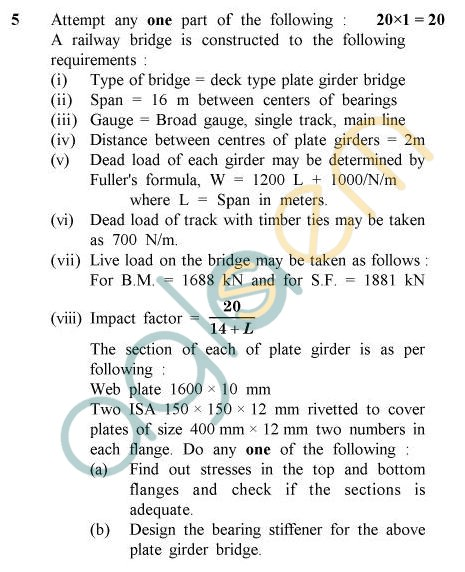 UPTU B.Tech Question Papers - CE-801 - Steel Structures – II