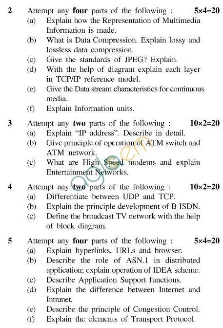 UPTU B.Tech Question Papers -EC-024-Multimedia Communications