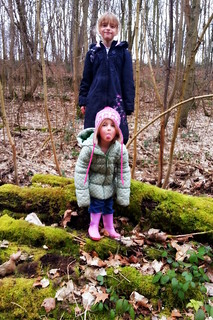 Amber and Millie in the woods