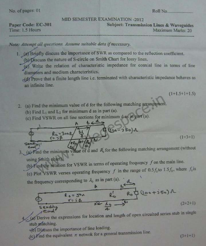 NSIT Question Papers 2012 – 5 Semester - Mid Sem - EC-301