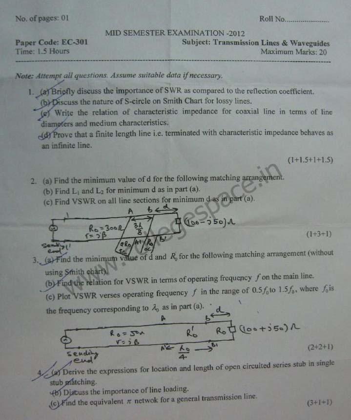 NSIT Question Papers 2012 – 5 Semester - Mid Sem - EC-301