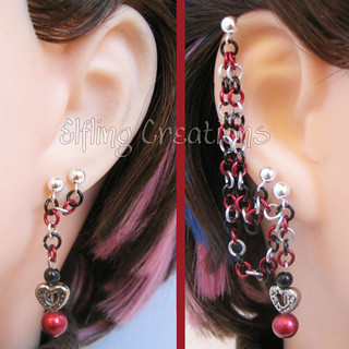 Black and Red Heart Connecting Chain Earrings