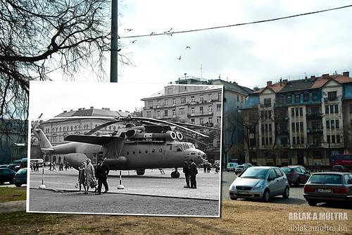 Budapest, XIV. Dózsa György út a Damjanich utcánál, Mi-6 típusú szovjet helikopter fortepan_20529