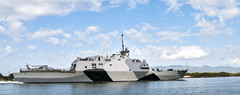 In this file photo, USS Freedom (LCS 1) arrives at Joint Base Pearl Harbor-Hickam for a port visit March 11 as part of the ship's first Pacific Fleet deployment. (U.S. Navy photo by Mass Communication Specialist 2nd Class Sean Furey)